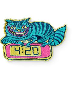 Cop a trippy patch to add style to your things with a grinning cat on a clock at 4:20 embroidery and an iron on backing for easy application.