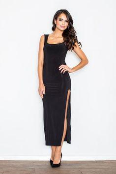 e25df4d5b0fb6 Czarna Wieczorowa Maxi Sukienka z Długim Rozporkiem Modelki, Suknie  Wieczorowe, Formalne Sukienki, Showroom