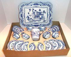 1950s Ohio Art Co - tin Blue Willow toy dish set  I had this set!!