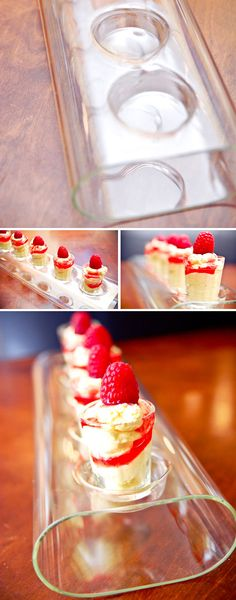 Dessert shots in glass votive holder.
