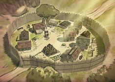 Med Village by Ekwal deviantart com on @DeviantArt Fantasy city map Fantasy map Fantasy city