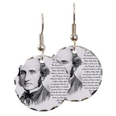 John Stuart Mill Earring Circle Charm at Cafe Press.