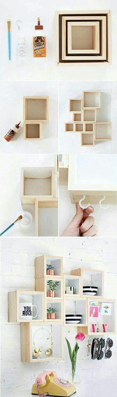 DIY: Repisas originales.   #DIY #Manualidades #Repisas #Decoración #hogar #TipsParaElHogar