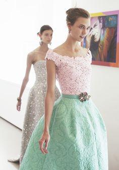Oscar de la Renta fitting - Pink + aqua green lace dress