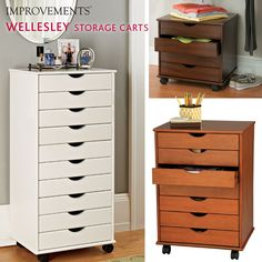 Wellesley Rolling Storage Cart can be used in just about any room – the kitchen, office, closet, craft room, etc. It's multi-functional – just roll it where you need it.