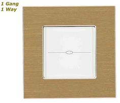 GLSTouch Designer Gold & White Brushed Aluminium Touch Light Switch (On/Off) 1 Gang 1 Way
