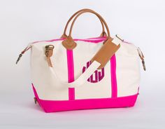 Pink Trim Monogram Canvas Weekend Duffle Bag by TetaApparel I really want a cute bag for all my stuff at the hospital!