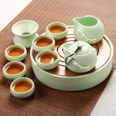 Green china tea set
