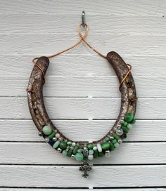 This article is not available - Horseshoe with green pearl beads by CowgirlAngels on Etsy - Horseshoe Projects, Horseshoe Crafts, Lucky Horseshoe, Horseshoe Art, Horseshoe Ideas, Horse Hair Jewelry, Welding Crafts, Western Crafts, Recycled Art