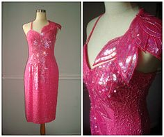 Fully Beaded Cocktail Dress // Vintage Bold Pink by ThePlumPosy, $114.00