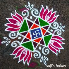 Explore latest easy rangoli design image ideas collection for Diwali. Here are amazing simple rangoli designs to decorate your home this festive season. Indian Rangoli Designs, Rangoli Designs Flower, Rangoli Ideas, Rangoli Designs Images, Kolam Rangoli, Flower Rangoli, Beautiful Rangoli Designs, Mehandi Designs, Rangoli Simple