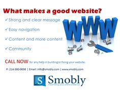 Need help in improving your company's #website? Call now or visit our http://smobly.com/