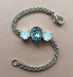 pear crystal / swarovski bracelet / stainless by CreationsBySLM