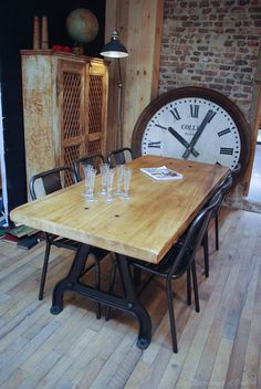 industrial table base and chairs