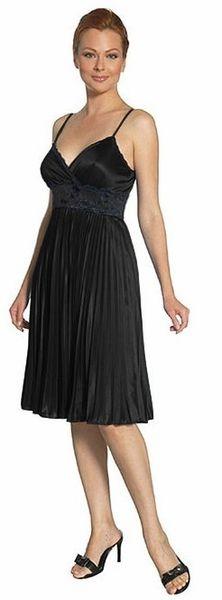 Black Bridesmaid Pleated Dress Short Empire Lace Waist Knee Length