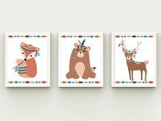 Set of 3 wall art nursery baby room by HappyPrintCreations on Etsy Arrow Nursery, Nursery Wall Art, Nursery Decor, Woodland Decor, Woodland Nursery, Tribal Fox, Playroom Decor, Arrows, Baby Room