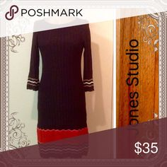 "Jones Studio Classic Excellent used condition beautiful dress for fall. Material is a rayon/nylon blend in a sumptuous chocolate brown with accents of orange, red, and cream. Length is 38"". Jones Studio Dresses Midi"