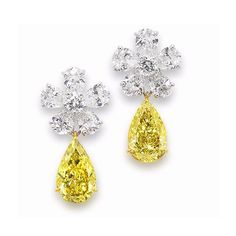 A pair of pear shaped yellow diamond cluster earrings, by Graff Graff Jewelry, High Jewelry, I Love Jewelry, Dangle Earrings, Diamond Earrings, Cluster Earrings, Chandelier Earrings, Gemstone Earrings, Yellow Jewelry