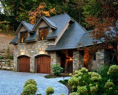 Detached 2 Story Garage Design Ideas, Pictures, Remodel and Decor - Dream House Garage Design, Exterior Design, House Design, Exterior Siding, Patio Design, Solar Shingles, Traditional Exterior, House Goals, Log Homes