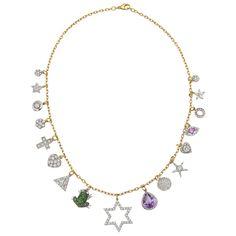 Renee Lewis Gem-Set Gold Charm Necklace