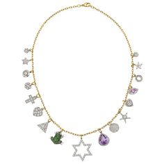 Renee Lewis Gem-Set Gold Charm Necklace