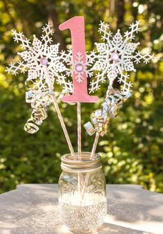 Your place to buy and sell all things handmade- Winter Onederland Decorations Winter Wonderland Pink, White and Silver Centerpiece First Birthday Photo Prop Snowflake Wands by GracesGardens on Etsy First Birthday Winter, Winter Birthday Parties, 1st Birthday Party For Girls, First Birthday Photos, Birthday Ideas, Winter Onederland Party Girl 1st Birthdays, Winter Wonderland Birthday, Baby Shower, Winter Wonderland Centerpieces
