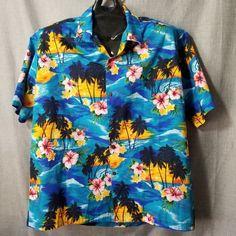 2a019c12 Pacific Legend Mens Hawaiian Shirt Sz 2XL Blue Island Hibiscus Tropical  Aloha