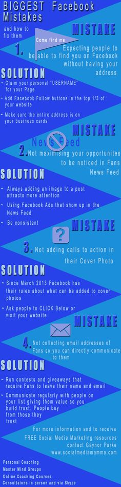 4 of the Biggest Facebook Mistakes and how to avoid them. Keeping up with all the changes to Facebook and other Social Networks can make Social Media Marketing challenging. I hope this Infographic helps www.socialmediamamma.com