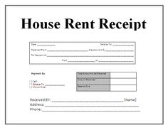 free house rental invoice | HOUSE RENT RECEIPT | Invoice | Pinterest