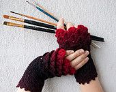 Crocheted crocodile stitch mittens fingerless gloves - black and red Transitional. Accessories.