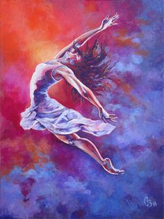 This is the third dancer in this dancing series. This painting was made to depict the feelings and emotions through graceful and strong, powerful movement. I wanted to play with both warm and cool colors to increase the feelings of boldness and dynamic movement in this worshippers leap. This dancer is unstoppable and is only dancing for her true love. She is dancing in the heavenlies which is the reality of a dancer worshipper. She is moving higher into higher realms.