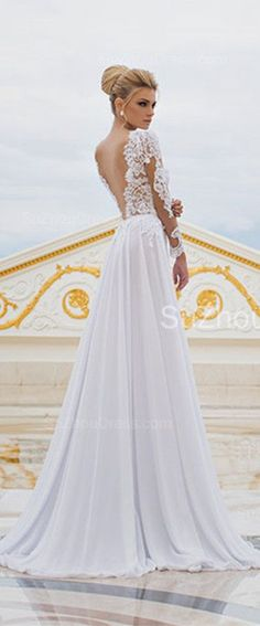 Sexy Long Sleeve V-Neck Wedding Dresses 2015
