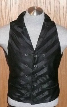 Steampunk Vest Black bias Stripe by SatinShadowDesigns, $185.00