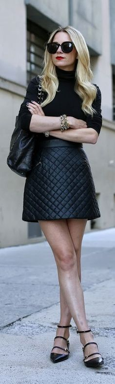 Quilted skirt + turtleneck. Pair this with some warm tights and a coat and you have a perfect winter outfit