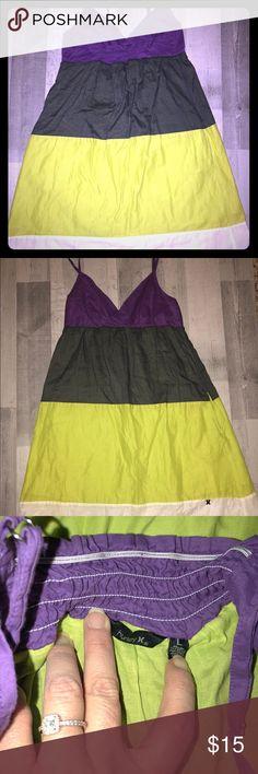 Hurley Sundress Sz L Like New Hurley Sundress Sz L Like New lined, adjustable straps purple, ive, lime, cream  Fits more like a ladies S Juniors L Hurley Dresses Mini