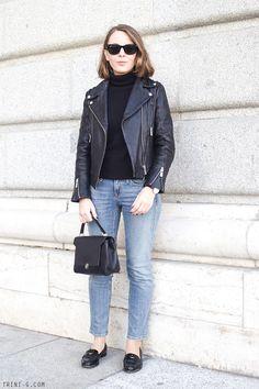 Trini | Petit Bateau black turtleneck The Kooples leather jacket Gap jeans Miu Miu loafers Anya Hindmarch bag