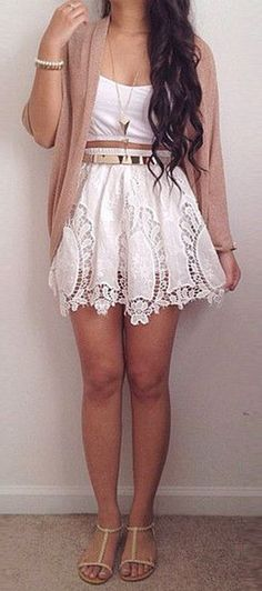 White Embroidered Dress, Belt, Tan Sweater - so cute!!