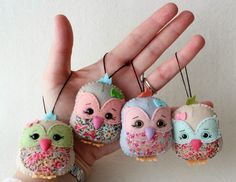 Super super cute the little owls made by Gingermelon Dols #felt #fabric #freepattern