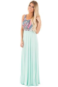 7d8cbb6f6f7 Lime Lush Boutique - Mint Sleeveless Maxi Dress with Aztec Print Bodice