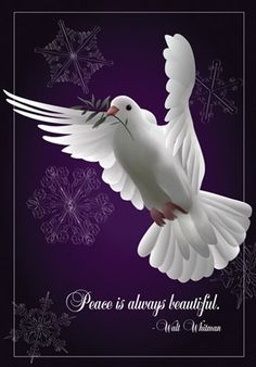 'Peace Is Beautiful' decorative flag with white dove and snowflakes