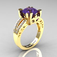 Modern Vintage 14K Yellow Gold 3.0 Carat Tanzanite Diamond Solitaire Ring R102-14KYGDTA | Art Masters Jewelry