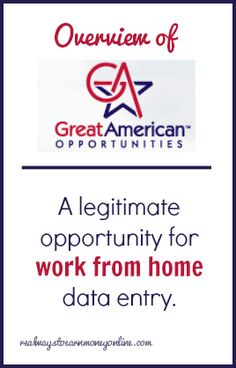 Most work from home data entry opportunities are either scams or they pay so little they're barely worth bothering with. The Great American Opportunities data entry job is one exception. It's compl...