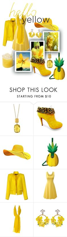 """""""hello yellow"""" by caroline-buster-brown ❤ liked on Polyvore featuring Effy Jewelry, Olsenhaus, Betsey Johnson, Alexandre Vauthier, Kenzo, VANINA, Block and yellow"""