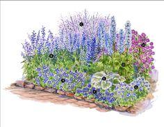 Blue-Theme Garden Plan. Create a soothing, all-blue garden in a partly ...    grow-earth.com