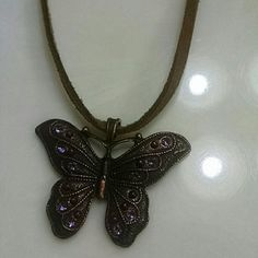 Necklace Beautiful butterfly with purple stones and leather chain Jewelry Necklaces