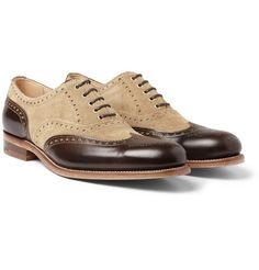 Handmade Men two tone leather formal shoes, New Men beige and brown dress shoes #Handmade #WingTip #Formal