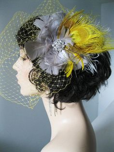 Yellow and Gray Wedding Veil and by FascinatingCreations on Etsy, $125.00