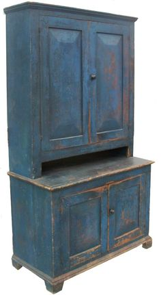 Early century New York State, Stepback Cupboard, with wonderful original blue paint,. I so want one too turn into a pantry Primitive Cabinets, Primitive Furniture, Primitive Antiques, Country Furniture, Country Primitive, White Furniture, Country Decor, Antique Furniture, Beach Furniture