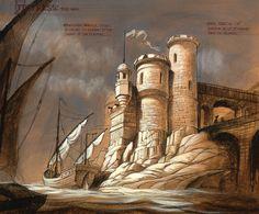 Fortress Concept Sketch, Tokyo Disney Sea, Artist: Phillip Freer