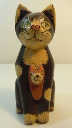 Vintage Cat and Kitten Wood Figure Standing Small Distressed Hand Painted | eBay